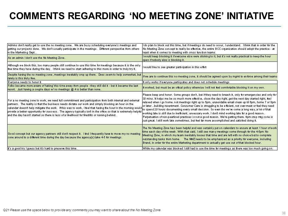 38 COMMENTS REGARDING 'NO MEETING ZONE' INITIATIVE Q21 Please use the space below to provide any comments you may want to share about the No Meeting Zone.
