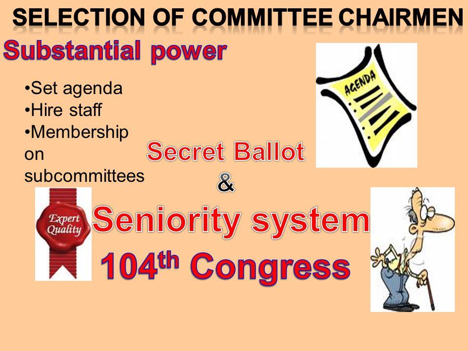 Set agenda Hire staff Membership on subcommittees