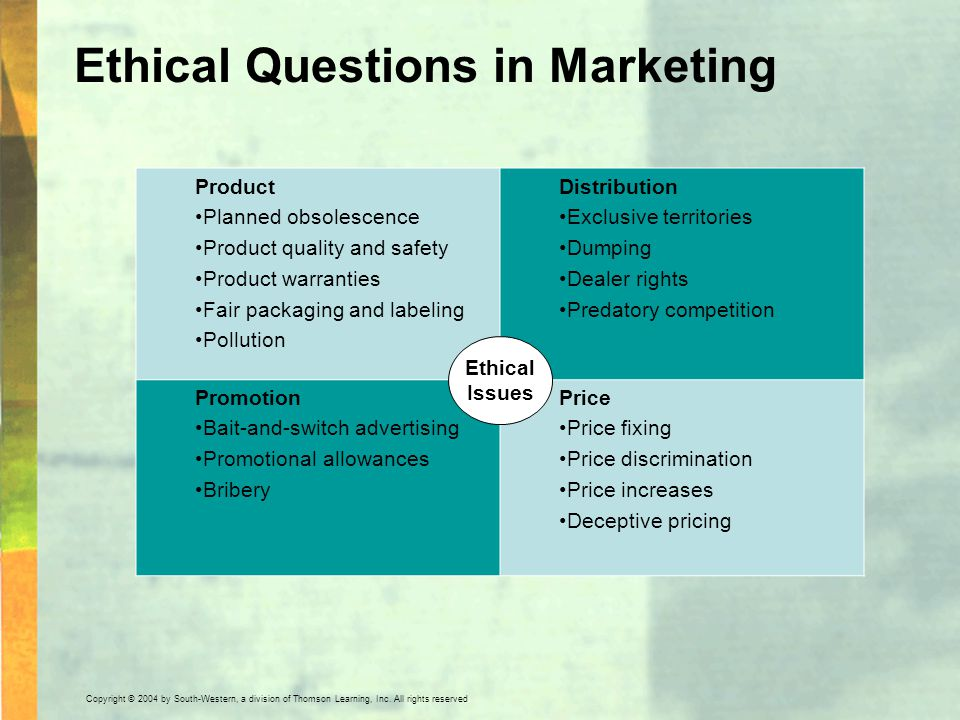 Ethical Questions in Marketing Product Planned obsolescence Product quality and safety Product warranties Fair packaging and labeling Pollution Distri