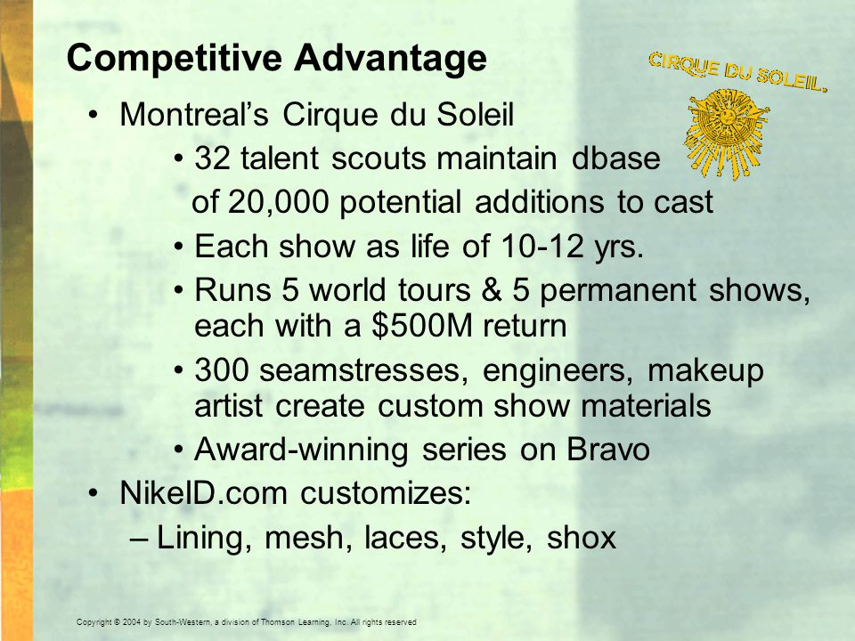 Copyright © 2004 by South-Western, a division of Thomson Learning, Inc. All rights reserved. Competitive Advantage Montreal's Cirque du Soleil 32 tale