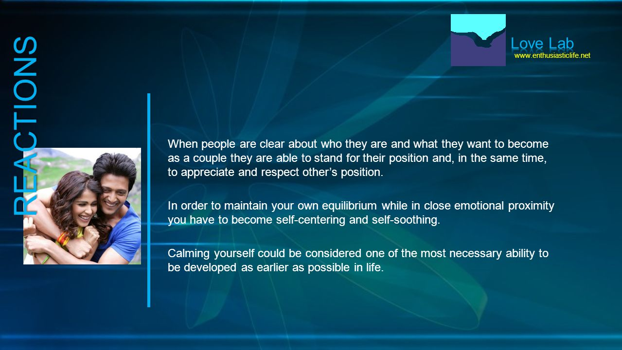 www.enthusiasticlife.net When people are clear about who they are and what they want to become as a couple they are able to stand for their position and, in the same time, to appreciate and respect other's position.