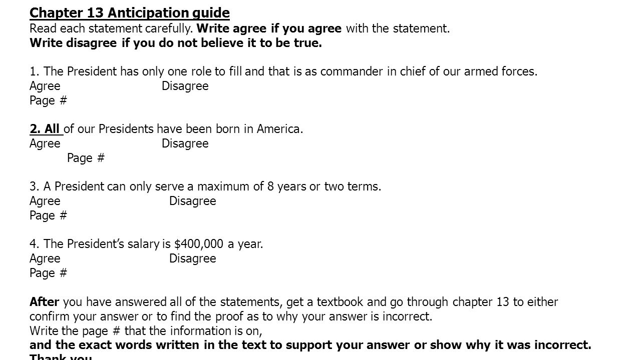 Chapter 13 Anticipation guide Read each statement carefully.
