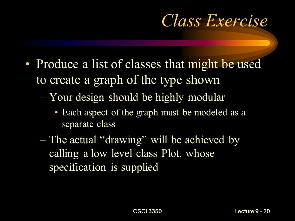 CSCI 3350Lecture 9 - 20 Class Exercise Produce a list of classes that might be used to create a graph of the type shown –Your design should be highly modular Each aspect of the graph must be modeled as a separate class –The actual drawing will be achieved by calling a low level class Plot, whose specification is supplied