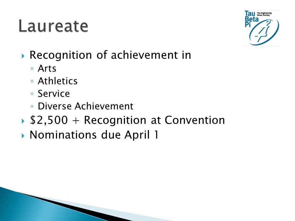  Recognition of achievement in ◦ Arts ◦ Athletics ◦ Service ◦ Diverse Achievement  $2,500 + Recognition at Convention  Nominations due April 1