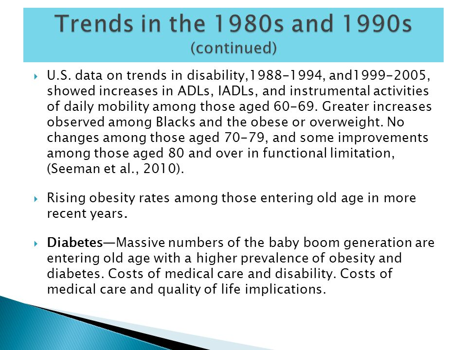  Increased prevalence of chronic conditions and disability in the UK among persons 65-69 from early to late 1990s.