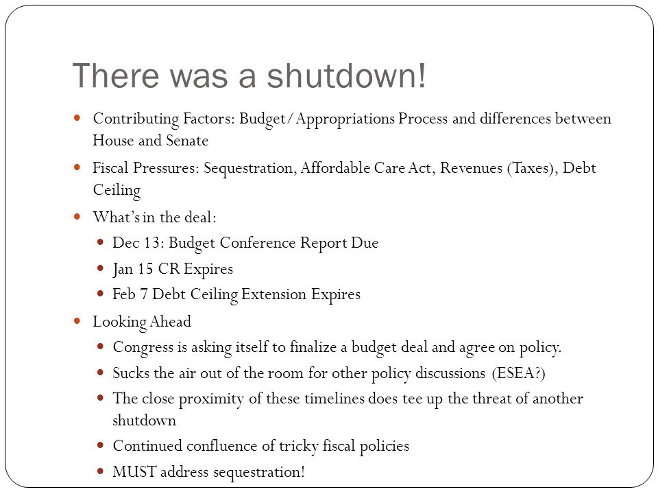There was a shutdown! Contributing Factors: Budget/Appropriations Process and differences between House and Senate Fiscal Pressures: Sequestration, Af
