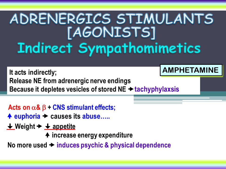 It acts indirectly; Release NE from adrenergic nerve endings Because it depletes vesicles of stored NE  tachyphylaxsis AMPHETAMINE  Weight   appet
