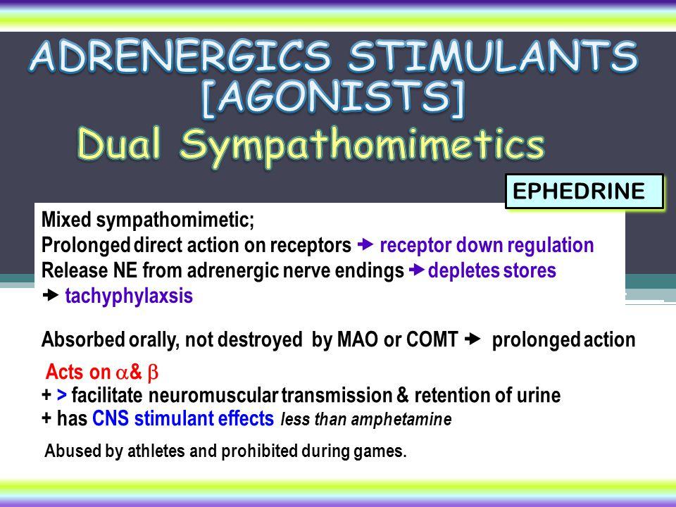 Mixed sympathomimetic; Prolonged direct action on receptors  receptor down regulation Release NE from adrenergic nerve endings  depletes stores  ta