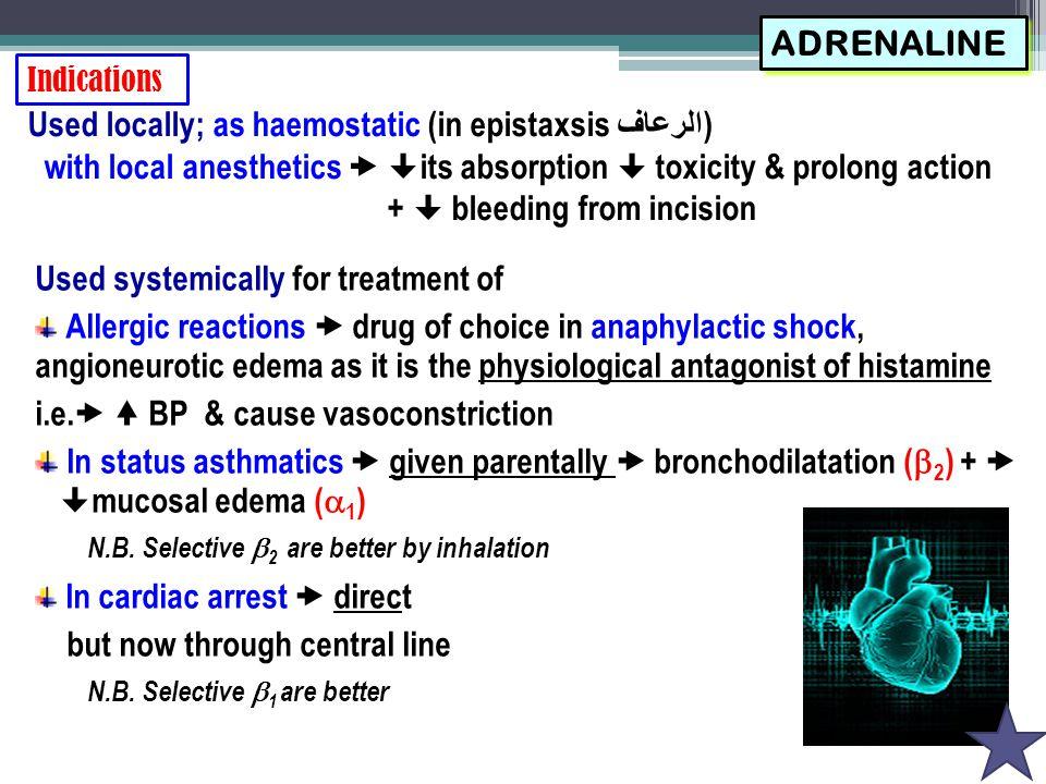 Agents specifically indicated for hypotension Midodrine, Phenylephrine, Norepinephrine, Phenylpropanolamine Agents specifically indicated for cardiogenic shock  AHF Dobutamine, Dopamine, Epinephrine Agents specifically indicated for shock Dopamine, Norepinephrine Agents specifically indicated for cardiac arrest Dobutamine, Epinephrine, Norepinephrine Agents specifically indicated for bronchial asthma Salbutamol, Salmeterol, Formoterol, Terbutaline, Isoprenaline Agents specifically indicated for premature labour Ritodrine, Terbutaline Agents specifically indicated for nasal decongestion Pseudoephedrine, Naphazoline, Oxymetazoline, Phenylephrine, Xylometazoline Agents specifically abused in sports  Ephedrine, Amphetamine