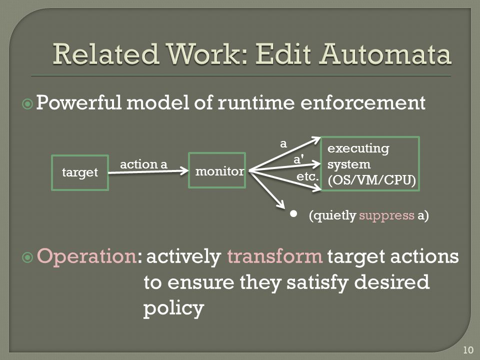  Powerful model of runtime enforcement  Operation: actively transform target actions to ensure they satisfy desired policy target monitor executing system (OS/VM/CPU) action a a a a etc.