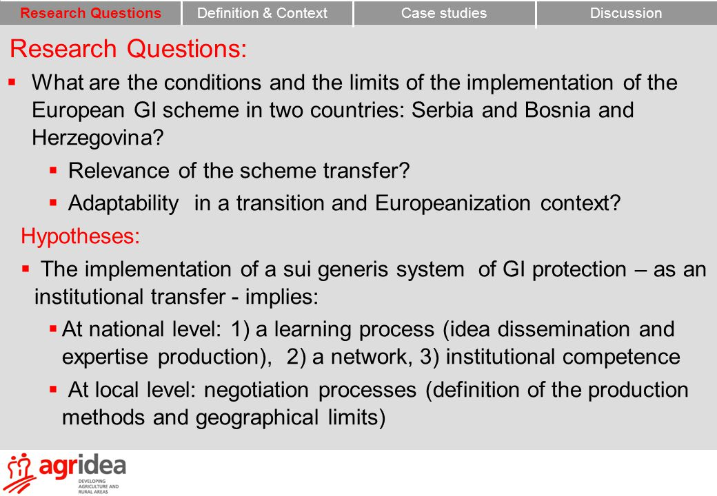  What are the conditions and the limits of the implementation of the European GI scheme in two countries: Serbia and Bosnia and Herzegovina.