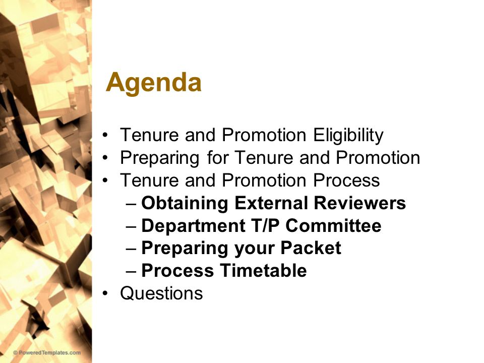 Agenda Tenure and Promotion Eligibility Preparing for Tenure and Promotion Tenure and Promotion Process –Obtaining External Reviewers –Department T/P Committee –Preparing your Packet –Process Timetable Questions