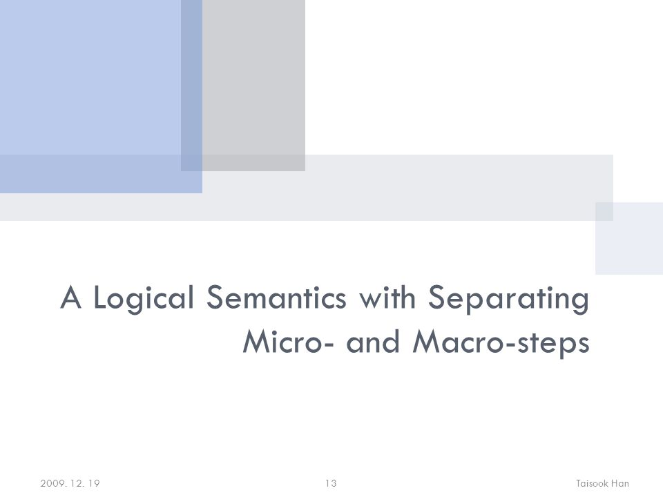 2009. 12. 19Taisook Han13 A Logical Semantics with Separating Micro- and Macro-steps