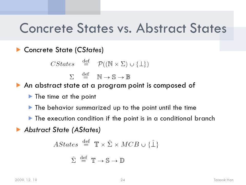 Concrete States vs.