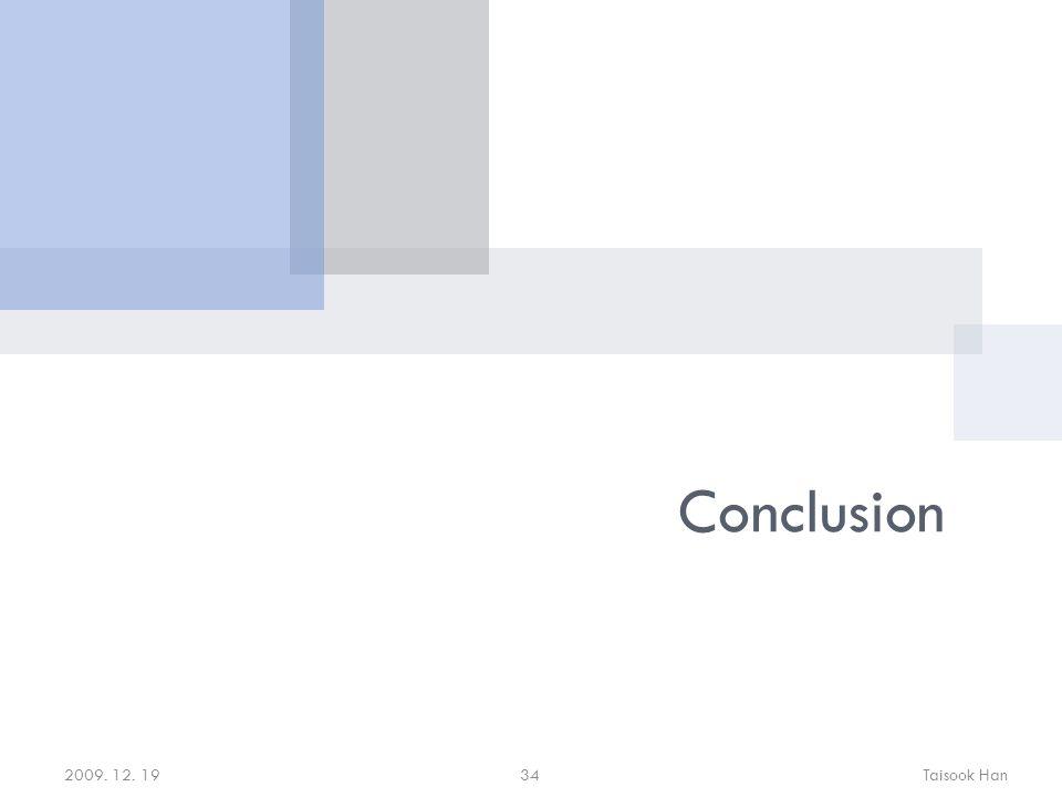 Conclusion 2009. 12. 19Taisook Han34