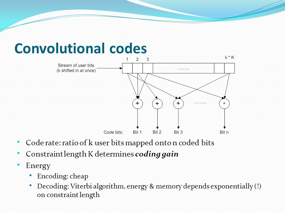 Convolutional codes Code rate: ratio of k user bits mapped onto n coded bits Constraint length K determines coding gain Energy Encoding: cheap Decoding: Viterbi algorithm, energy & memory depends exponentially (!) on constraint length