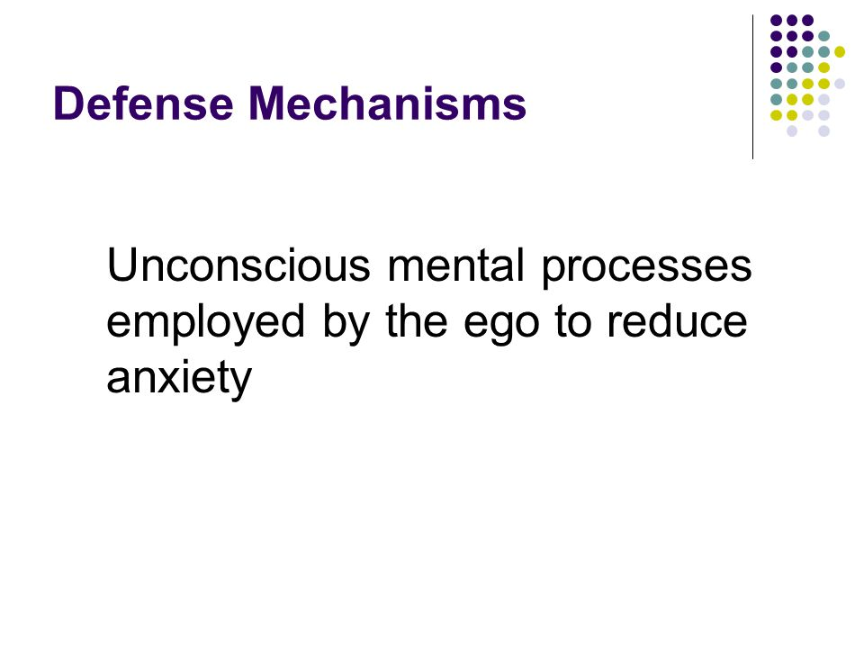 Defense Mechanisms Unconscious mental processes employed by the ego to reduce anxiety