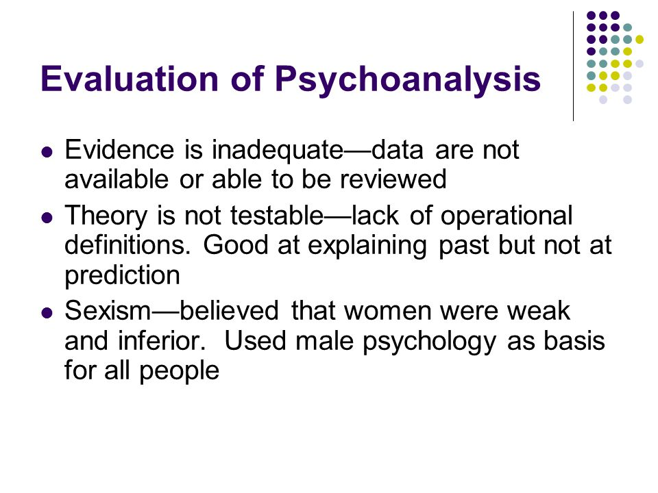 Evaluation of Psychoanalysis Evidence is inadequate—data are not available or able to be reviewed Theory is not testable—lack of operational definitio