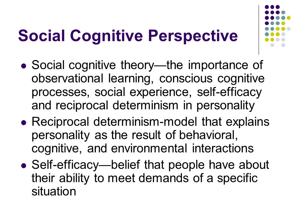 Social Cognitive Perspective Social cognitive theory—the importance of observational learning, conscious cognitive processes, social experience, self-