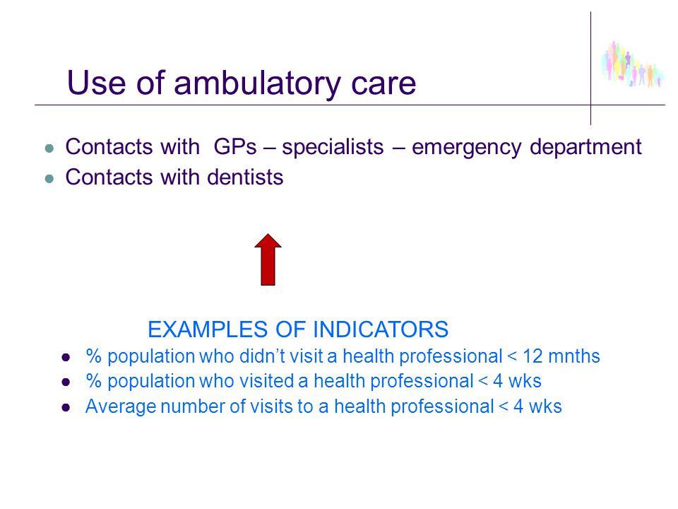 Use of ambulatory care ● Contacts with GPs – specialists – emergency department ● Contacts with dentists EXAMPLES OF INDICATORS ●% population who didn
