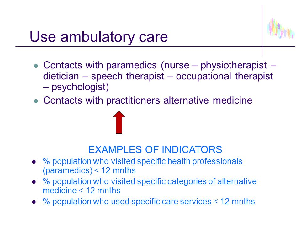 Use ambulatory care ● Contacts with paramedics (nurse – physiotherapist – dietician – speech therapist – occupational therapist – psychologist) ● Cont