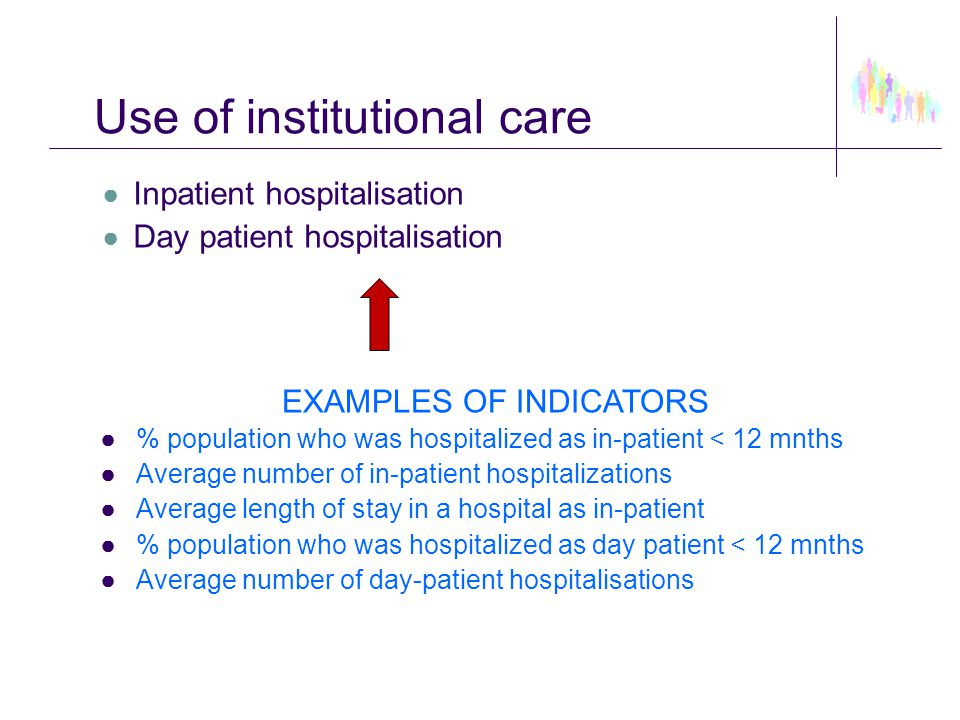 Use of institutional care ● Inpatient hospitalisation ● Day patient hospitalisation EXAMPLES OF INDICATORS ●% population who was hospitalized as in-pa