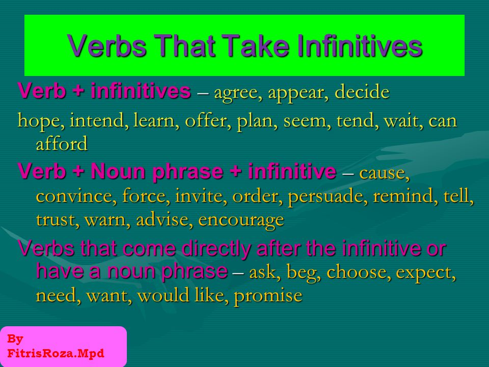 Infinitives in the subject position To live in the United States is my dream It is my dream to live in the United States.
