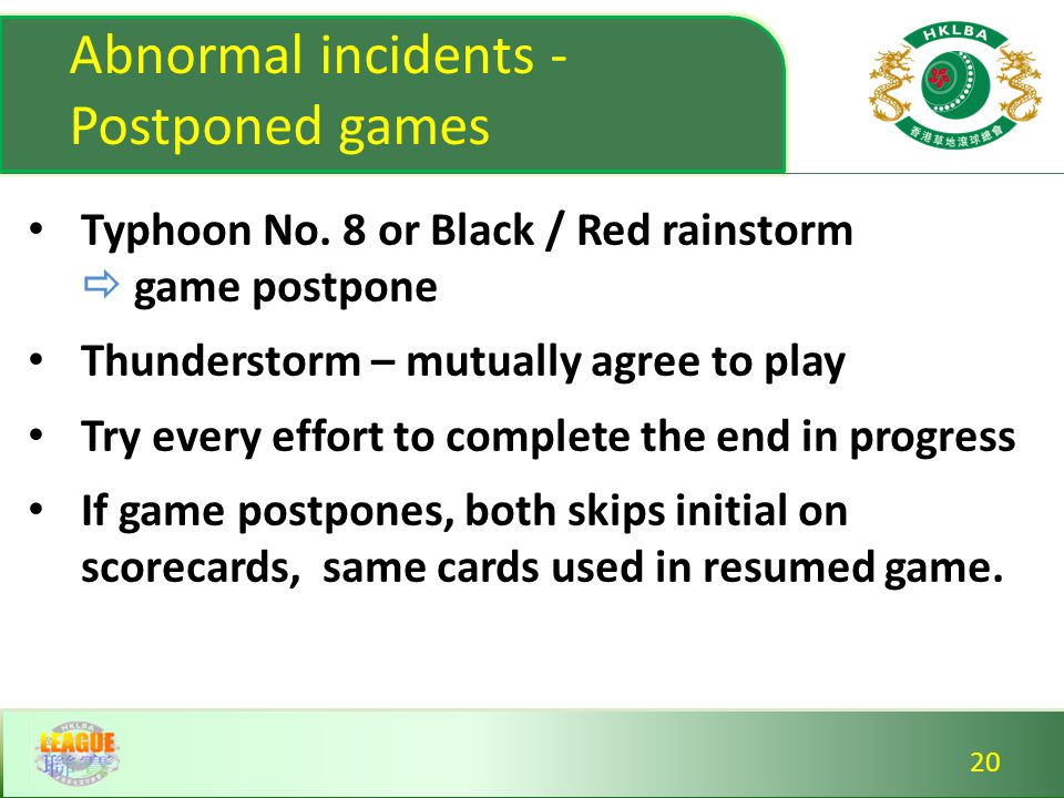 Abnormal incidents - Postponed games Typhoon No.