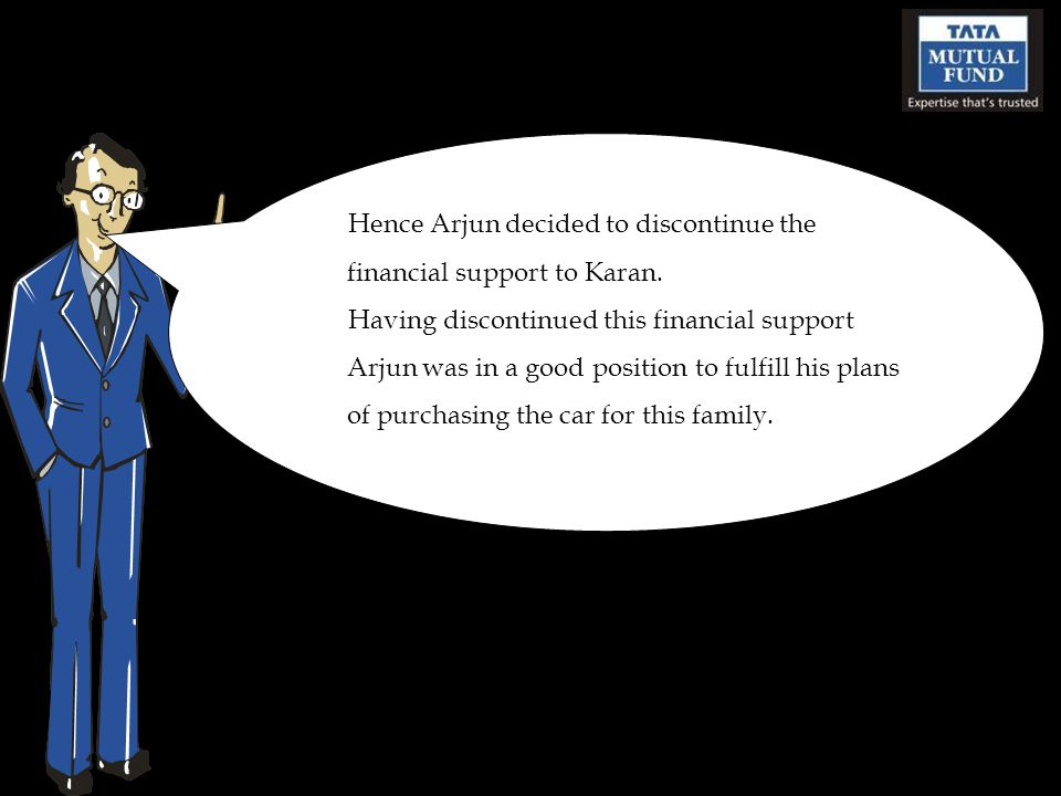 Hence Arjun decided to discontinue the financial support to Karan.