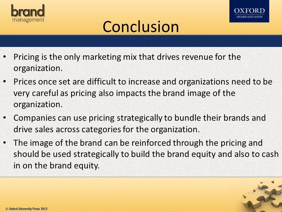 Conclusion Pricing is the only marketing mix that drives revenue for the organization.