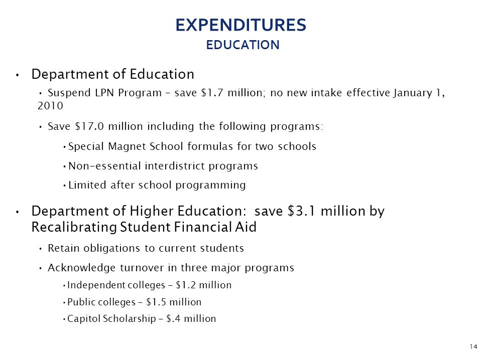 14 EXPENDITURES EDUCATION Department of Education Suspend LPN Program – save $1.7 million; no new intake effective January 1, 2010 Save $17.0 million including the following programs: Special Magnet School formulas for two schools Non-essential interdistrict programs Limited after school programming Department of Higher Education: save $3.1 million by Recalibrating Student Financial Aid Retain obligations to current students Acknowledge turnover in three major programs Independent colleges - $1.2 million Public colleges - $1.5 million Capitol Scholarship - $.4 million
