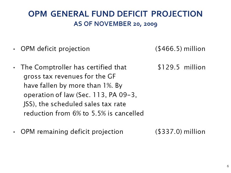 7 SUMMARY OF THE GOVERNOR'S DEFICIT MITIGATION PLAN ($466.5)Projected Deficit per OPM s November 20th Letter to the Comptroller $129.5Sales tax revenue resulting from rate at 6% vs.