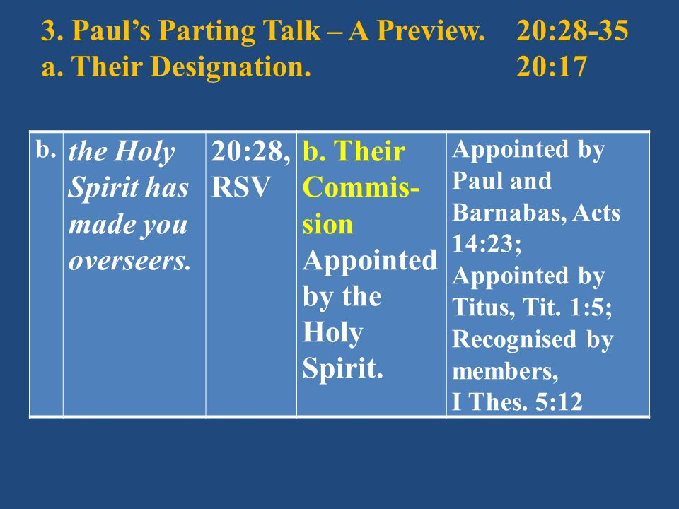 3. Paul's Parting Talk – A Preview.20:28-35 a. Their Designation.20:17 b.