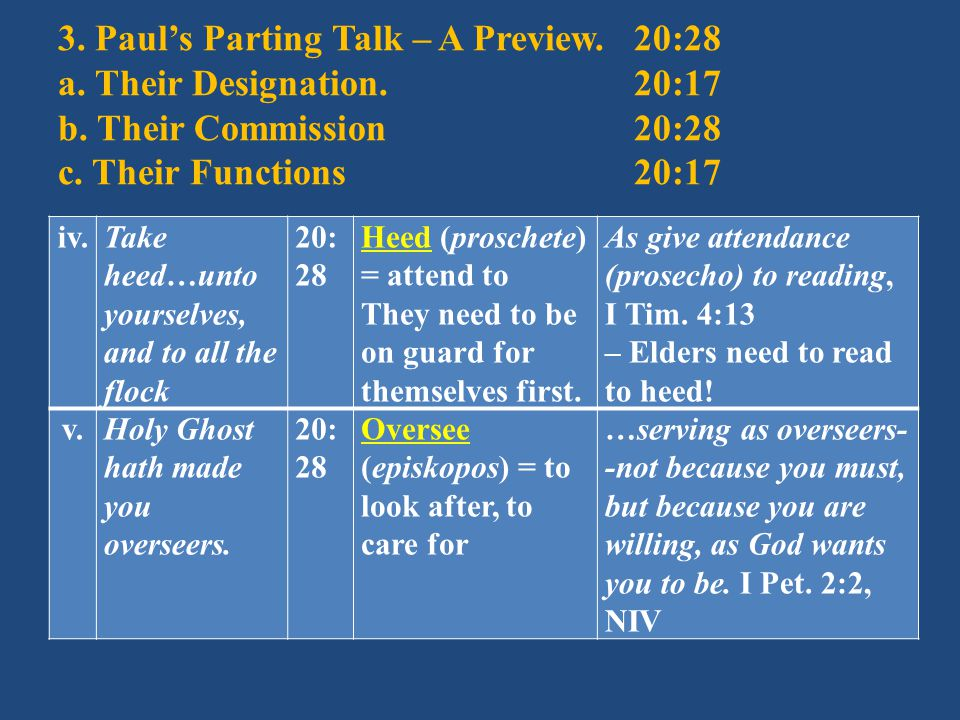 3. Paul's Parting Talk – A Preview.20:28 a. Their Designation.20:17 b.