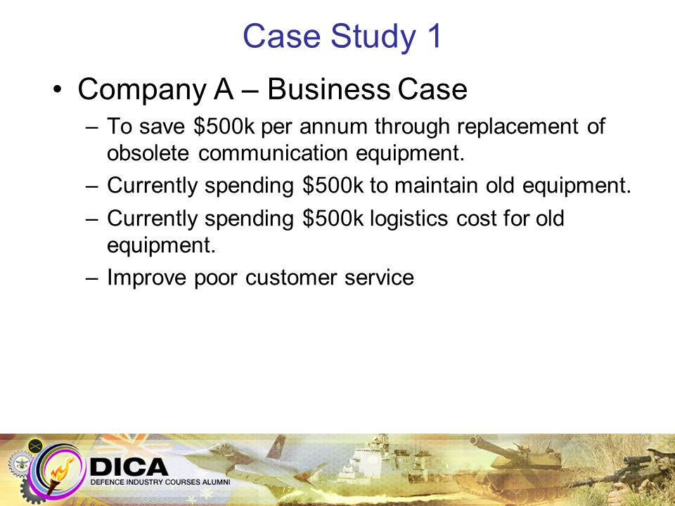 Case Study 1 Company A – Business Case –To save $500k per annum through replacement of obsolete communication equipment. –Currently spending $500k to