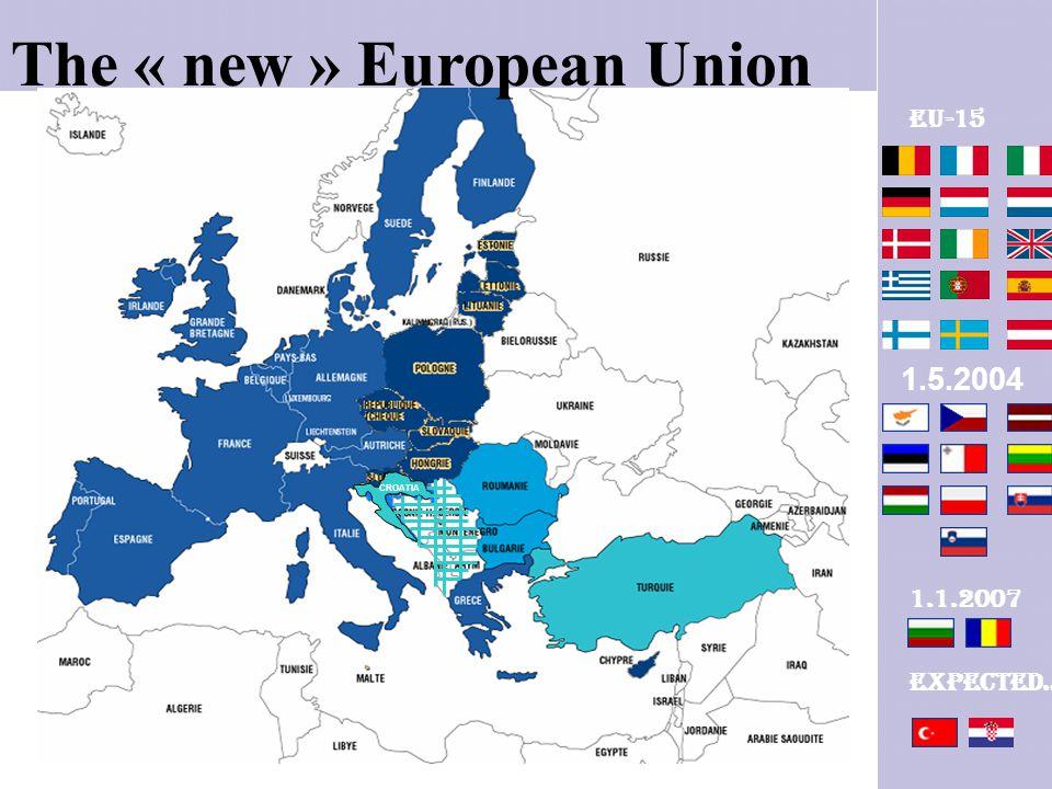 The « new » European Union CROATIA 1.5.2004 1.1.2007 Expected… EU-15