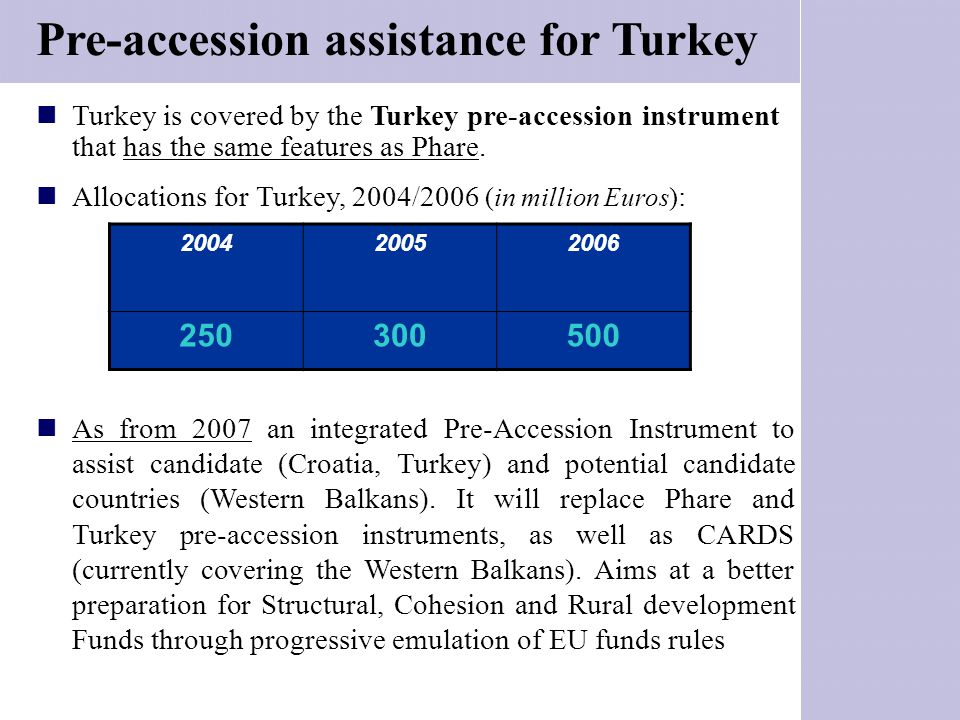 Turkey is covered by the Turkey pre-accession instrument that has the same features as Phare. Allocations for Turkey, 2004/2006 (in million Euros) : A