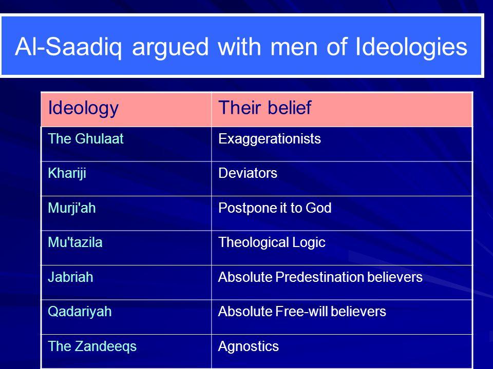 Al-Saadiq argued with men of Ideologies IdeologyTheir belief The GhulaatExaggerationists KharijiDeviators Murji'ahPostpone it to God Mu'tazilaTheologi