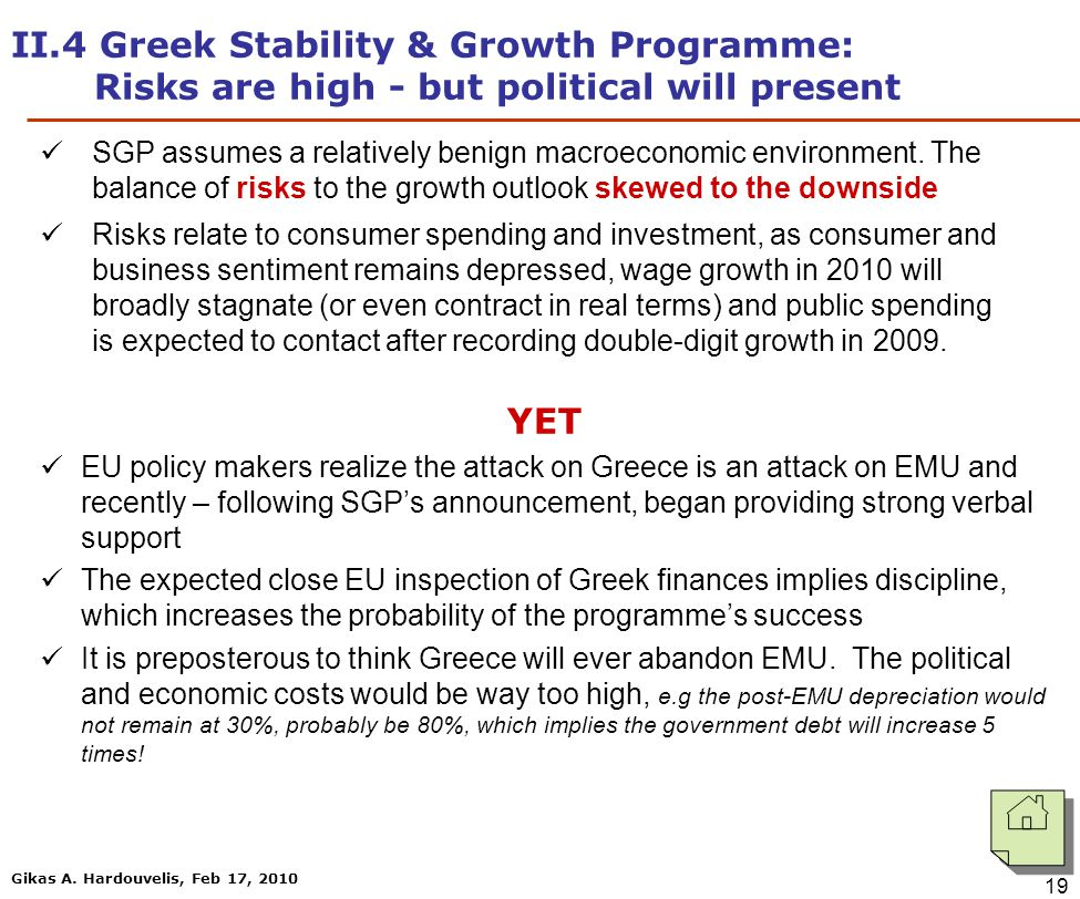 Gikas A. Hardouvelis, Feb 17, 2010 19 II.4 Greek Stability & Growth Programme: Risks are high - but political will present SGP assumes a relatively be
