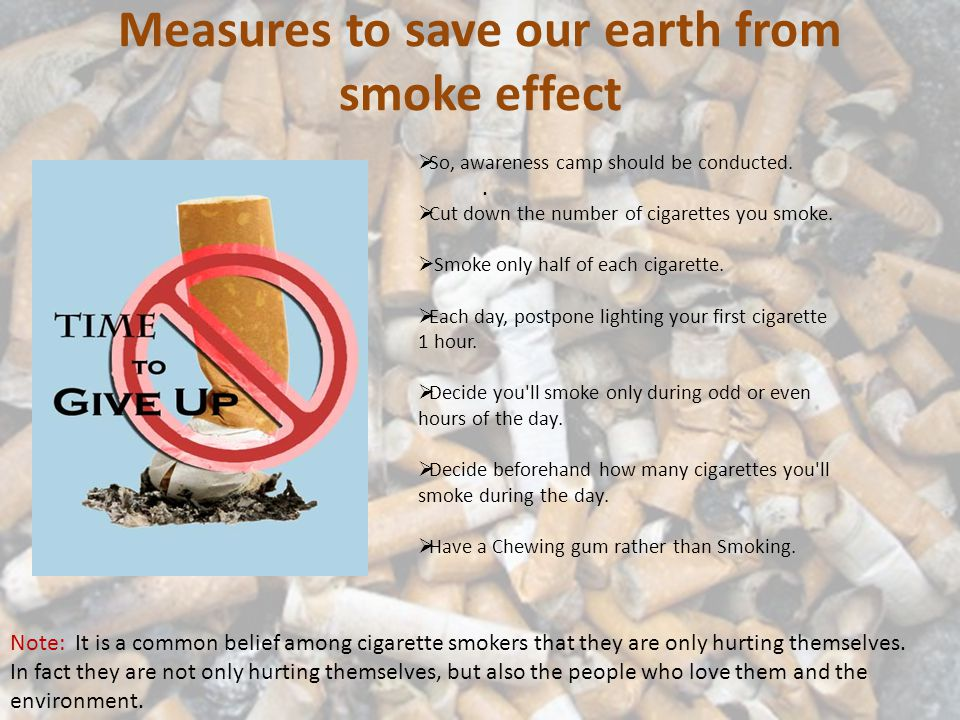 Measures to save our earth from smoke effect. So, awareness camp should be conducted.