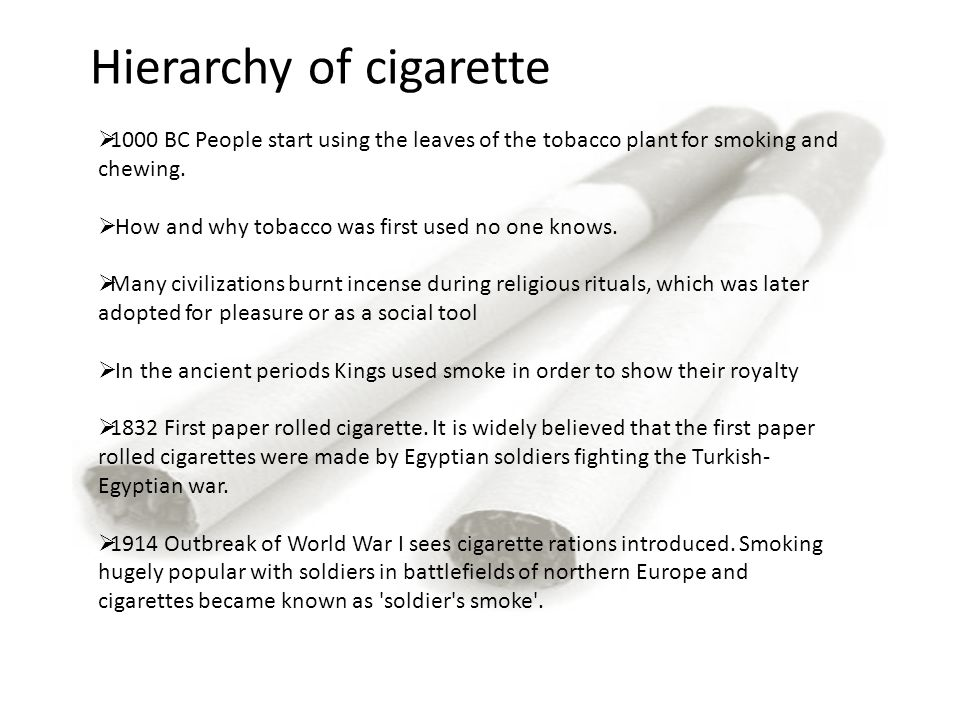 Hierarchy of cigarette  1000 BC People start using the leaves of the tobacco plant for smoking and chewing.