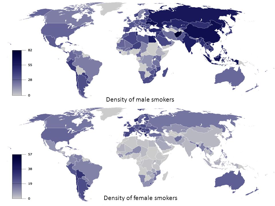 Density of male smokers Density of female smokers