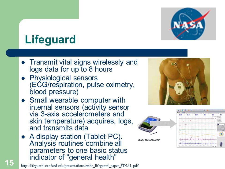 15 Lifeguard Transmit vital signs wirelessly and logs data for up to 8 hours Physiological sensors (ECG/respiration, pulse oximetry, blood pressure) Small wearable computer with internal sensors (activity sensor via 3-axis accelerometers and skin temperature) acquires, logs, and transmits data A display station (Tablet PC).
