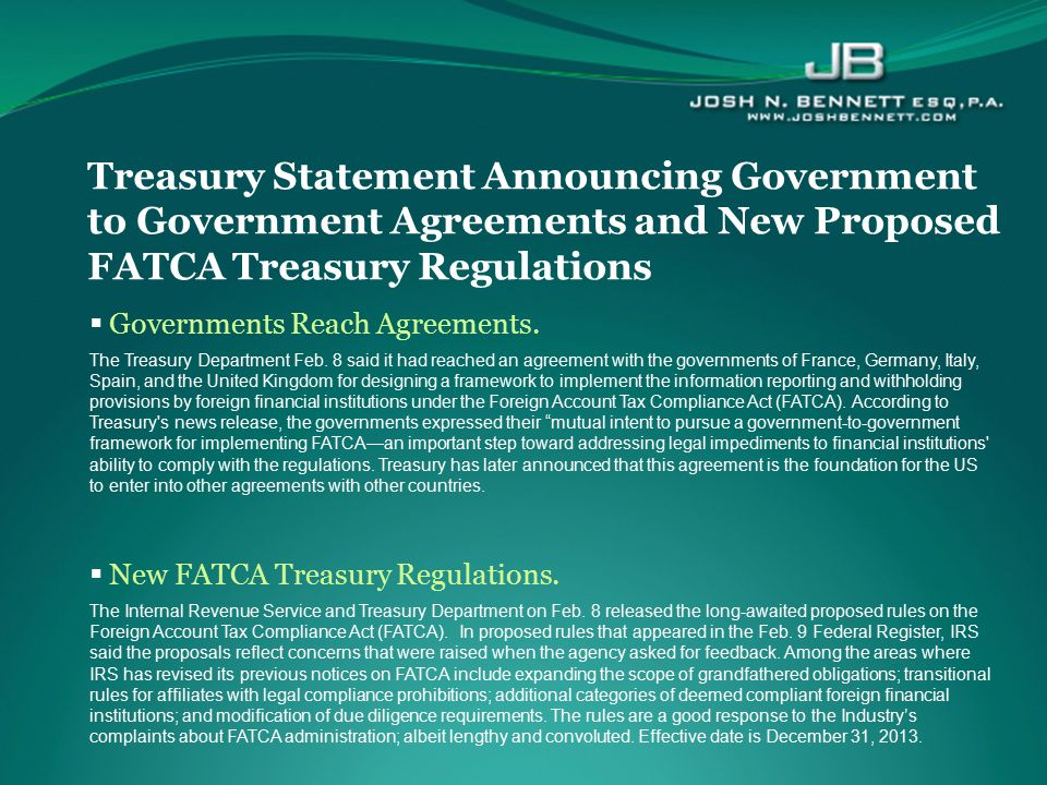  Governments Reach Agreements. The Treasury Department Feb. 8 said it had reached an agreement with the governments of France, Germany, Italy, Spain,