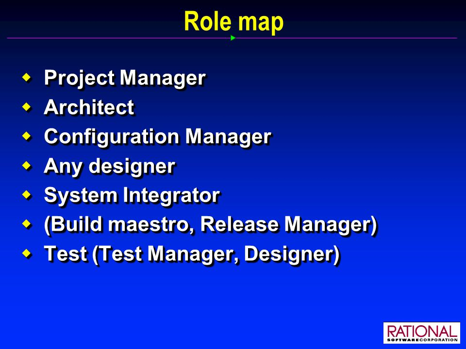 Role map  Project Manager  Architect  Configuration Manager  Any designer  System Integrator  (Build maestro, Release Manager)  Test (Test Manager, Designer)  Project Manager  Architect  Configuration Manager  Any designer  System Integrator  (Build maestro, Release Manager)  Test (Test Manager, Designer)