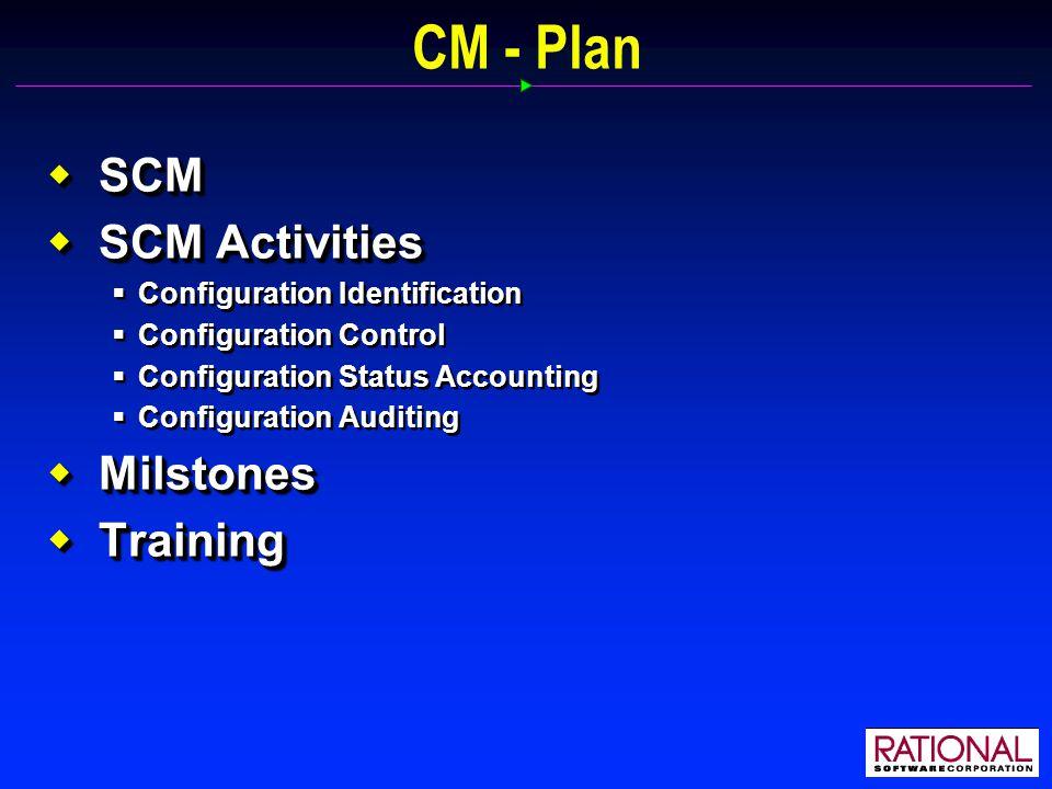 CM - Plan  SCM  SCM Activities  Configuration Identification  Configuration Control  Configuration Status Accounting  Configuration Auditing  Milstones  Training  SCM  SCM Activities  Configuration Identification  Configuration Control  Configuration Status Accounting  Configuration Auditing  Milstones  Training