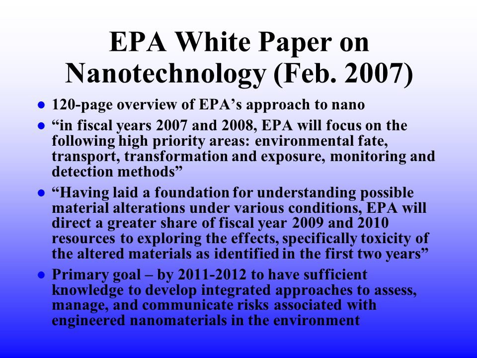 EPA White Paper on Nanotechnology (Feb.