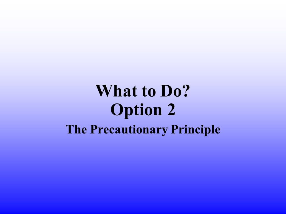 What to Do Option 2 The Precautionary Principle