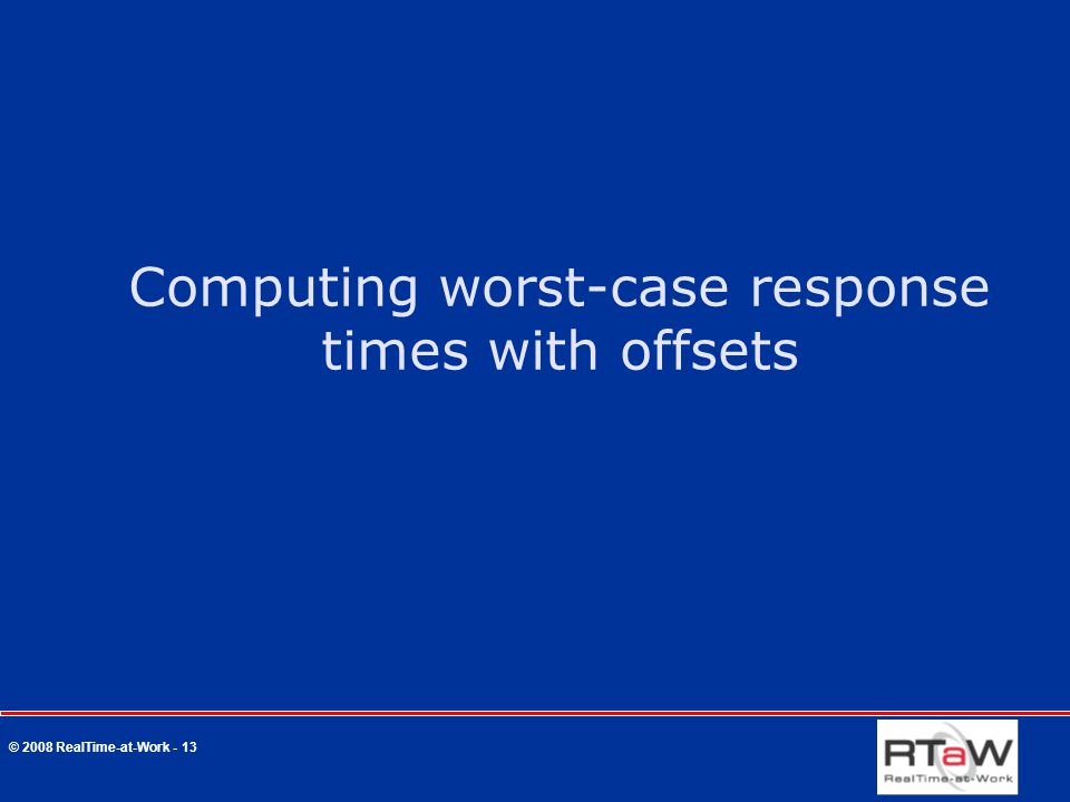 © 2008 RealTime-at-Work - 13 Computing worst-case response times with offsets
