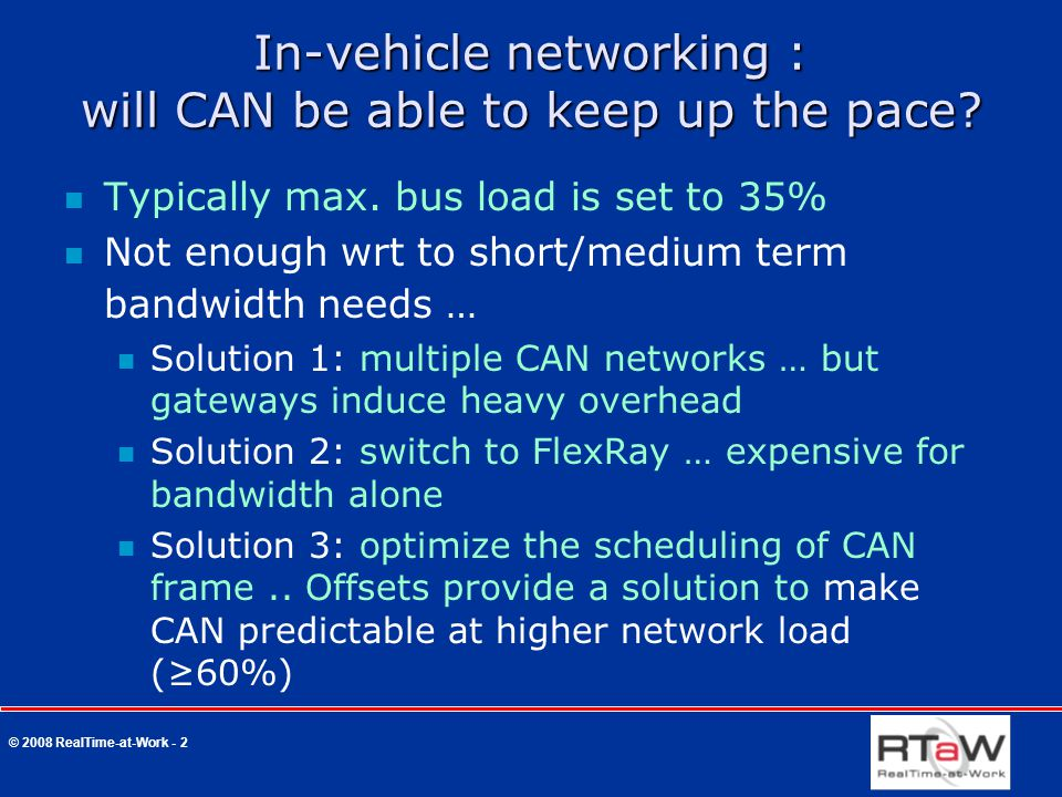 © 2008 RealTime-at-Work - 2 In-vehicle networking : will CAN be able to keep up the pace.